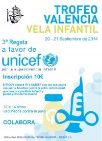 Cartel Trofeo Valencia Vela – 3ª Regata a favor de UNICEF