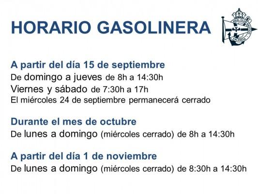 cartel horario gasolinera